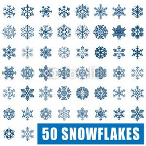 50 голубых снежинок