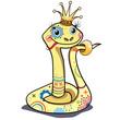 Очаровательная бледно-жёлтая царевна-змейка с орнаментом задумчиво смотрит на мир