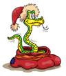 Змея в мешке и в прекрасной шапочке Деда Мороза
