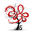 Дерево, крону которого образуют красные и чёрные извивающиеся змеи