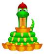 Зелёно-жёлтая змея в забавной красной шапочке