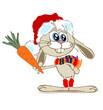 Кролик держит морковку в одной руке