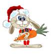 Кролик держит морковку двумя лапками