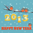 На веточке, на которой висит надпись 2013 сидят 3 снегиря, а ещё один пристроился на надписи Happy New Year. Фон картинки - голубой с снежинками.