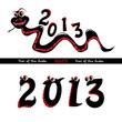 Набор из двух картинок. Первая - красно-чёрная тоненькая змейка с надписью 2013. Вторая - надпись 2013 из чёрных змеек с большими глазами.