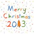 Яркие конфетти и серпантин, а на их фоне разноцветная надпись Merry Christmas 2013, причём цифру один заменяет оранжевая ёлочка.