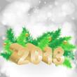 Снежный фон не котором изображены ярко-зелёные еловые ветви украшенные шарами и объёмными золотыми цифрами написано 2013