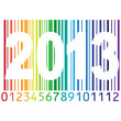На фоне яркого штрих кода надпись 2013