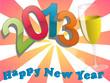 На фоне розовых лучей надпись 2013 Happy New Year и бокал шампанского