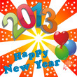 На фоне красных лучей надпись 2013 Happy New Year и воздушные шарики