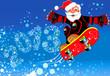 Дед Мороз несётся с горы на сноуборде оставляя за собой след 2013