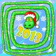 Зелёная змея свила лабиринт в центре которого на голубом фоне жёлтая надпись 2013