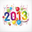 Серпантин, воздушные шарики и надпись 2013