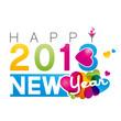 На белом фон яркая надпись Happy New Year 2013