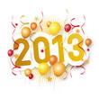 Красные и жёлтые воздушные шары, серпантин и надпись 2013