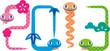 На белом фоне разноцветные змейки образовали надпись 2013