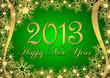 На зелёном фоне золотистый орнамент из снежинок и надпись Happy New Year 2013