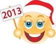 Классический жёлтый смайлик в новогодней красной шапке держит в руке табличку с надписью 2013.
