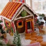 Новогодний пряничный домик из бисквитов, печенья, взбитых сливок и марципана. Торт сделан в виде деревенского домика и двора с ёлками