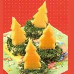Сырные ёлочки в канапе, украшенных укропом
