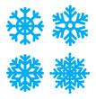Голубые снежинки с разным рисунком