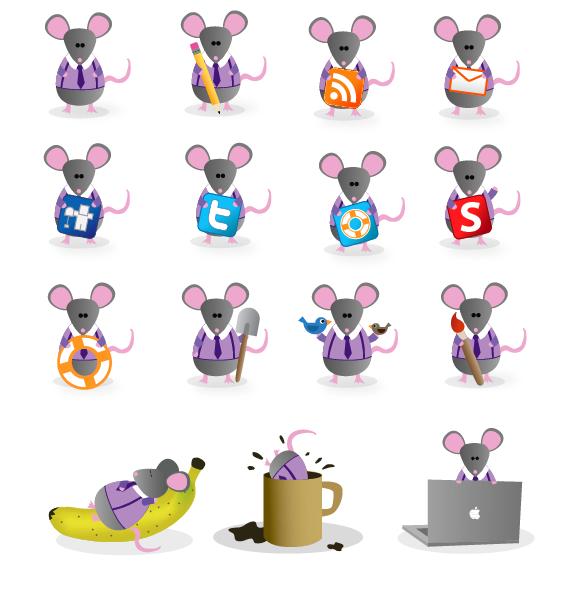Набор иконок для года Мыши