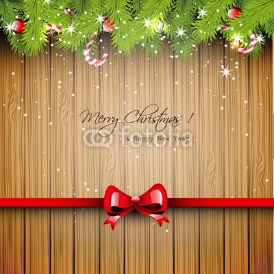 Баннер в стиле кантри. Гирлянды их хвои и ёлочных шаров, новогодняя символика на фоне серых и коричневых струганых досок (11)