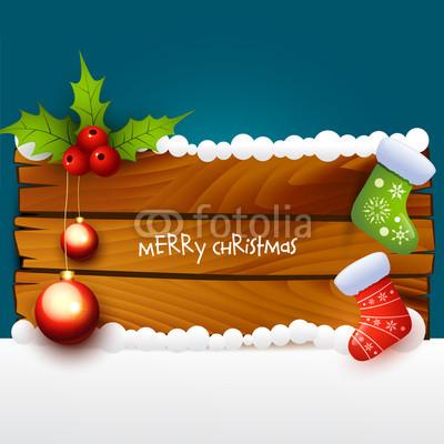 Баннер в стиле кантри. Гирлянды их хвои и ёлочных шаров, новогодняя символика на фоне серых и коричневых струганых досок (19)