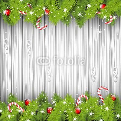 Баннер в стиле кантри. Гирлянды их хвои и ёлочных шаров, новогодняя символика на фоне серых и коричневых струганых досок (6)