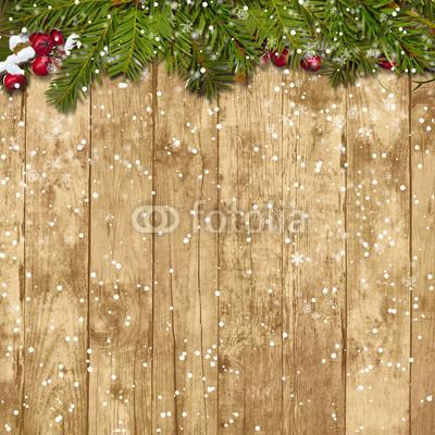Баннер в стиле кантри. Гирлянды их хвои и ёлочных шаров, новогодняя символика на фоне серых и коричневых струганых досок (9)