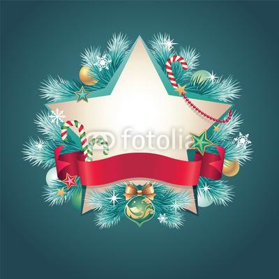 Изящный новогодний баннер с оборочками и новогодними украшениями (2)