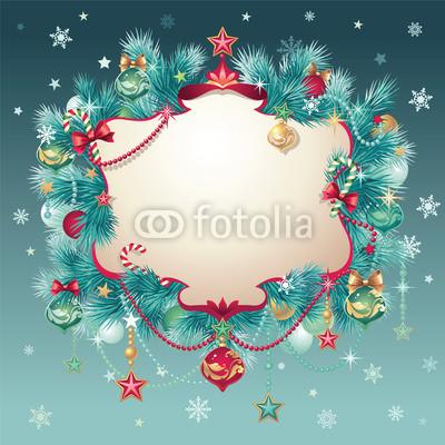 Изящный новогодний баннер с оборочками и новогодними украшениями (3)