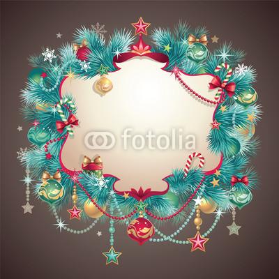 Изящный новогодний баннер с оборочками и новогодними украшениями (4)