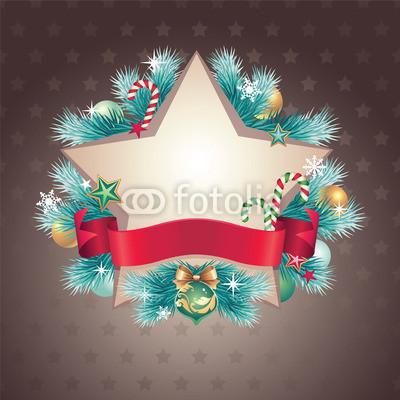 Изящный новогодний баннер с оборочками и новогодними украшениями (5)