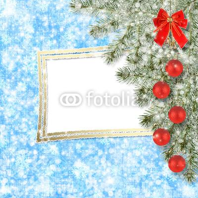 Изящный новогодний баннер с оборочками и новогодними украшениями (6)
