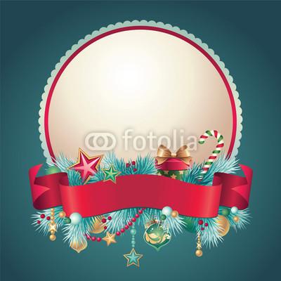 Изящный новогодний баннер с оборочками и новогодними украшениями (7)