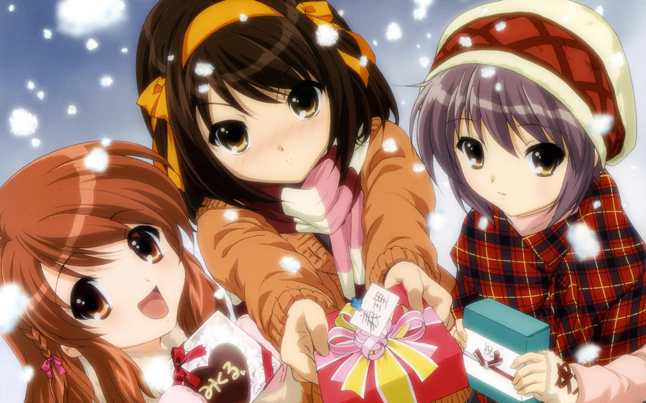 Аниме персонажи с подарками