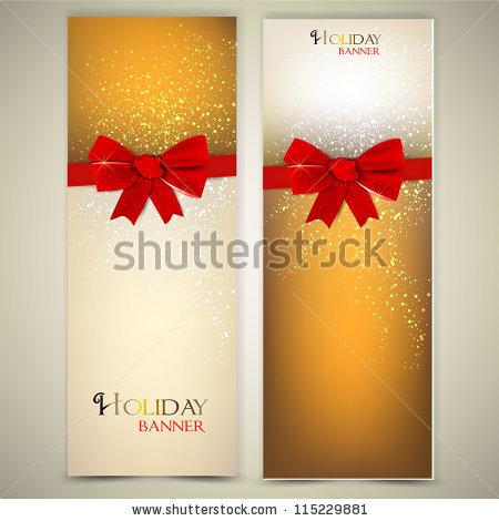 Новогодние баннеры разных цветов украшенные бантами (1)