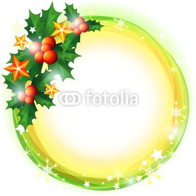 Новогодний баннер в виде венка из хвои и ёлочных украшений (2)