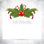 Новогодний баннер - на белом фоне в обрамлении новогодней хвойной гирлянды (2)