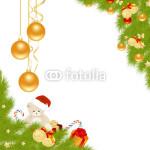 Новогодний баннер - на белом фоне в обрамлении новогодней хвойной гирлянды (3)