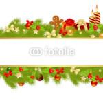 Новогодний баннер - на белом фоне в обрамлении новогодней хвойной гирлянды (4)