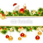 Новогодний баннер - на белом фоне в обрамлении новогодней хвойной гирлянды (5)