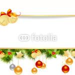Новогодний баннер - на белом фоне в обрамлении новогодней хвойной гирлянды (6)