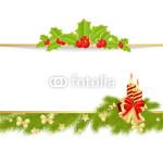 Новогодний баннер - на белом фоне в обрамлении новогодней хвойной гирлянды (7)