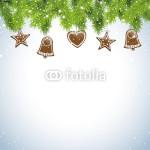 Новогодний баннер на серо-голубом фоне красивая еловая гирлянда с ёлочными украшениями (1)