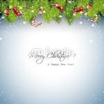 Новогодний баннер на серо-голубом фоне красивая еловая гирлянда с ёлочными украшениями (2)
