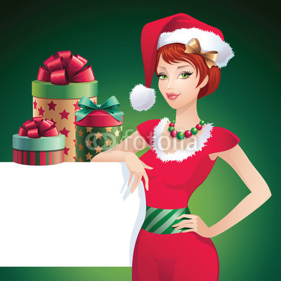 Новогодний баннер с красивой девушкой  (2)
