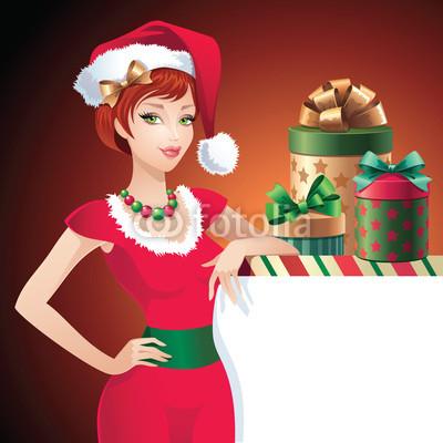 Новогодний баннер с красивой девушкой  (3)