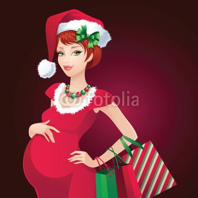 Новогодний баннер с красивой девушкой  (4)